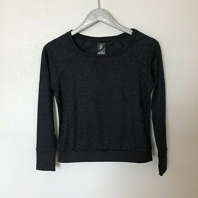 Studio By Capezio Black Jacquard Style Top Pullover Womens Size Extra Small XS