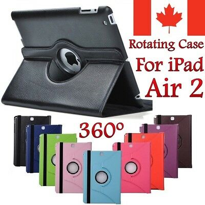For Apple iPad Air 2 Case - Leather Stand Protective Rotating Cover