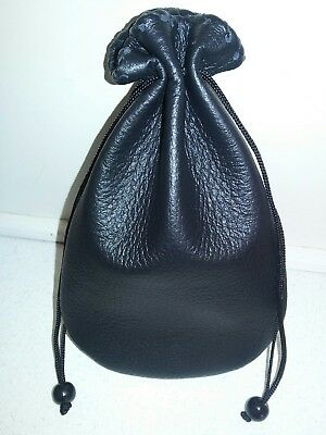New Handmade Black Genuine Leather Drawstring Dice Bag Coin Pouch