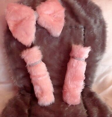 Silver grey and Pink Fur Pram Liner,bow Straps With Diamante Bling
