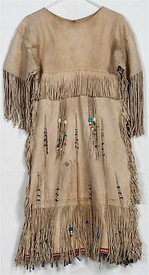 1930s NATIVE AMERICAN PLAINS / SIOUX INDIAN BEADED FRINGED HIDE DRESS STUNNING
