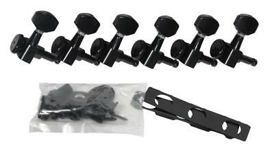 Hipshot Black 6 Inline Non-Staggered Enclosed Grip-lock Tuners~UMP Kit~New