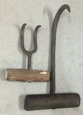 2 Vintage Wool Bale Hooks, Bag Hook Farming Shearing Shed Large 26cms Small 14cm