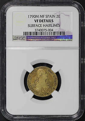 1790M MF Spain Gold 2 EscudosNGC VF Details Surface Hairlines -176685