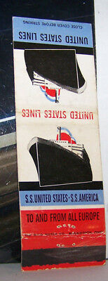 Rare Vintage Matchbook Cover United States Lines SS To & From Europe Boat Ship