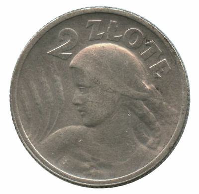 1924 Poland Silver 2 Zlote Cleaned