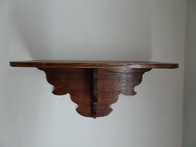 Antique Victorian Carved Wood Clock Wall Shelf or for other display use. Oak?