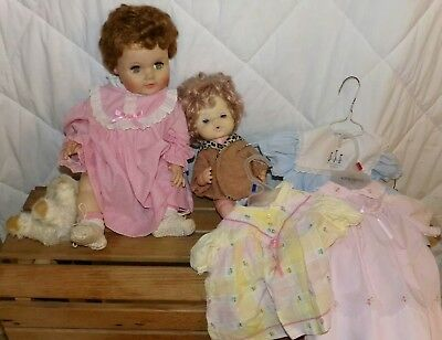 2 Vintage baby Dolls 1 Eegee & Other ?, With Dresses Clothes Old Girls Toy