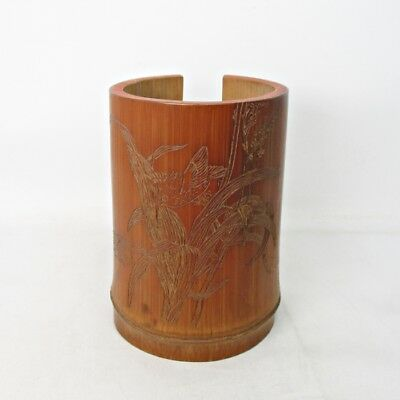 B258: Japanese WANTO(teacup case) of bamboo with good taste and good sculpture
