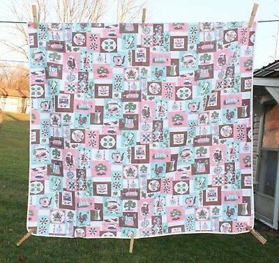 "Vtg Printed Tablecloth White Pink Turq Brown 33"" x 34"" Chickens Windmills Etc."