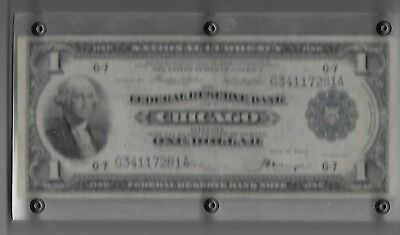 1 Dollar 1918 Large National Currency Federal Reserve Chicago in Lucite holder