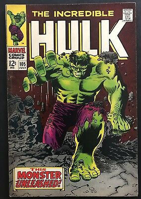 INCREDIBLE HULK #105. Marvel Silver Age Comic. 1st Missing Link. Classic Cover