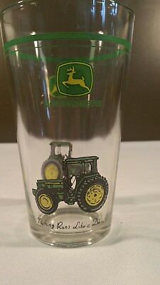 John Deere Replacement Drinking Glass Clear Tall Green And Yellow Nothing Runs