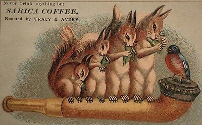 SARICA COFFEE Victorian Pipe Squirrels TRADE CARD CHROMO MANSFIELD OH Embossed
