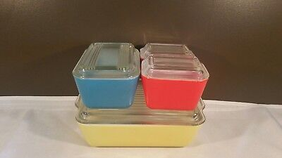 Vintage PYREX Primary Colors Refrigerator Dish Set 501s 502 503 With Lids