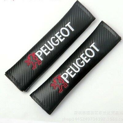 Carbon Fiber Car Seat Safety Belt Cover Shoulder Pads for Peugeot 2 pcs