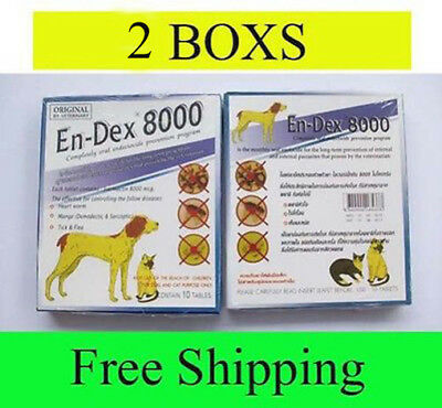 2 Box Pet tablet pill EnDex 8000 Remove Prevent Ticks and Fleas for Cats & Dogs