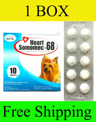 1 Box HEART SOMOMEC-68 PREVENT WORM HEART DISEASE DOGS UP TO 24 LB
