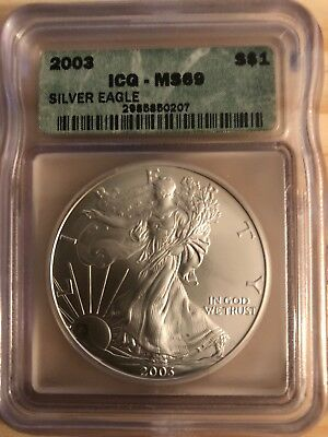2003 American Silver Eagle ASE S$1 ICG MS69 MS-69 BEAUTIFUL Premium Quality