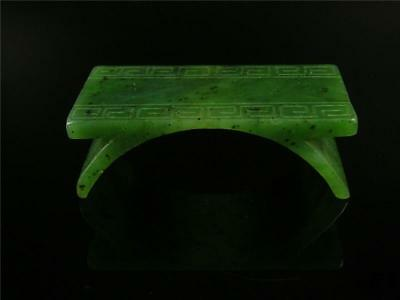 Fine Old Chinese Nephrite Spinach Green Jade Carved Brush Holder Statue