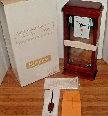 "Beautiful Bulova Frank Lloyd Wright ""willits"" Mantel Clock B1839 W/ Box  New"