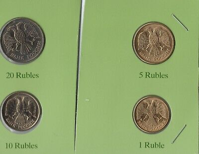 Russia 1, 5, 10, and 20 Rubles all 1992, BU