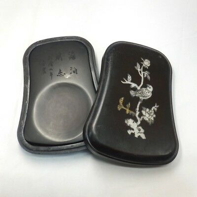 B523: Chinese sculptured ink stone with case of inlaid mother-of-pearl work
