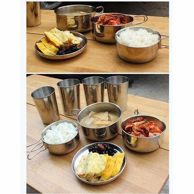 6PCS Portable Stainless Steel Nontoxic Picnic Set for Outdoor Camping Backpacker
