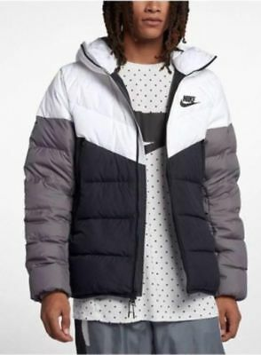 ef538a344281 Nike Sportswear Windrunner Down Fill Men s Hooded Jacket Black White Grey  Large