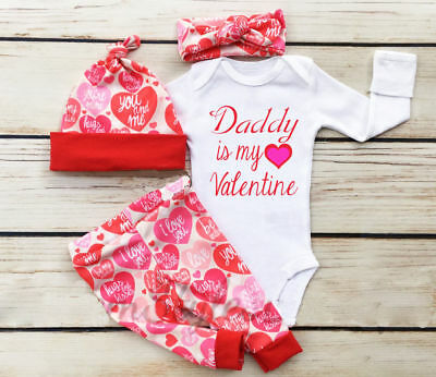 UK Stock Newborn Baby Girl Cotton Tops Romper Long Pants Hat Outfits Clothes