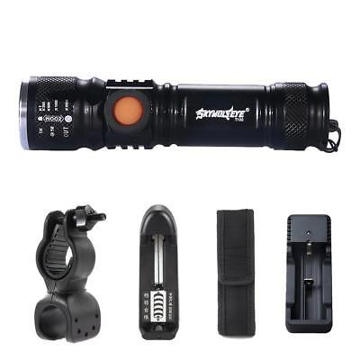 Zoomable 8000Lm X-XML T6 LED Flashlight USB Rechargeable Pocket Torch BE