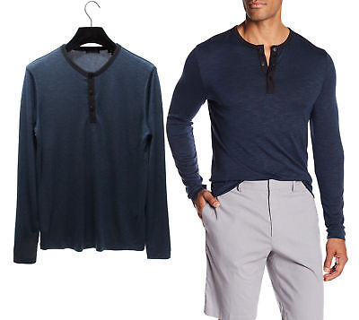 THEORY $135 NEW 3774 Ringer Snap Button Henley Mens T-Shirt Top M