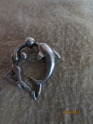 Sterling Silver Dolphin And Lady 2.5G - Pendant
