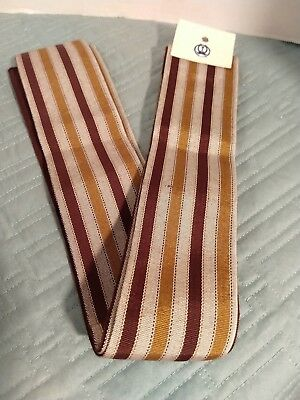 Japanese Vintage Men's Hanhaba Obi Belt - Sash Japanese Stripes Brown Grey NOS