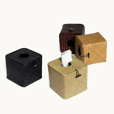 Woven Tissue Cover Box Square Paper Holder for Kitchen Office Car Bathroom