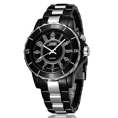 Ohsen Men Women Stainless Steel Bracelet Sport LED Waterproof Analog Wrist Watch