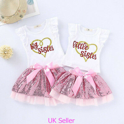 Infant Toddler Baby Girl Little/Big Sister Tops Tutu Dress Skirt Clothes Outfits