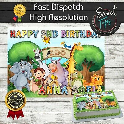 Zoo Animals Rectangle Edible Cake Topper Decoration Personalised
