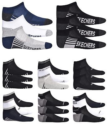 Skechers Mens Socks Ankle Trainers Liner Cushioned Fitness Gym Sports 3 Pairs
