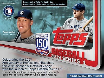 2019 Topps Baseball Series 1 Factory Sealed 24 Pack Hobby Box and 1 Silver Pack