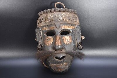 Exotic Tribal Tharu mask shaman mask mountain Himalayan mask Old antique Nepal