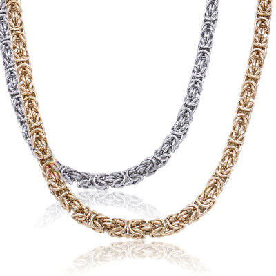 New Men Jewelry Stainless Steel 6/8mm Silver Gold Round Byzantine Chain Necklace