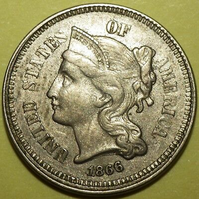 1866 Three Cent Nickel grading XF;  Spike from lower dentacles to left bow end