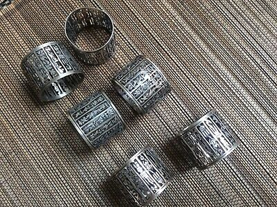 Set of 6 antique silver alloy napkin rings, engraved