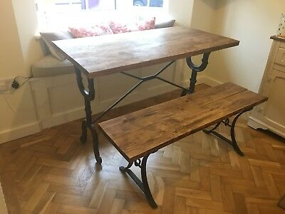 Retro Industrial Dining Table - 4ft (Old Scool, Victorian, Steampunk, Cast Iron)