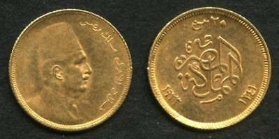 Scarce Egypt Gold Coin 1923 AD 1341 AH Twenty Piastre King Fuad I Bust Right Unc