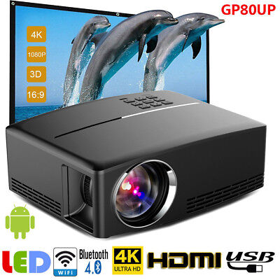 Multimedia HD Android Bluetooth 3D LED Home Cinema Projector 7000 Lumens T1