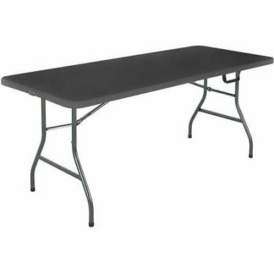 Cosco Office Centerfold Folding Table Black 6 Foot Portable Plastic Home Party
