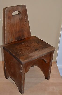 "Early Antique Wooden Child's 'time out"" Chair Handmade primitive straight back"