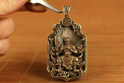 chinese old copper  hand carved guangong justice statue pendant